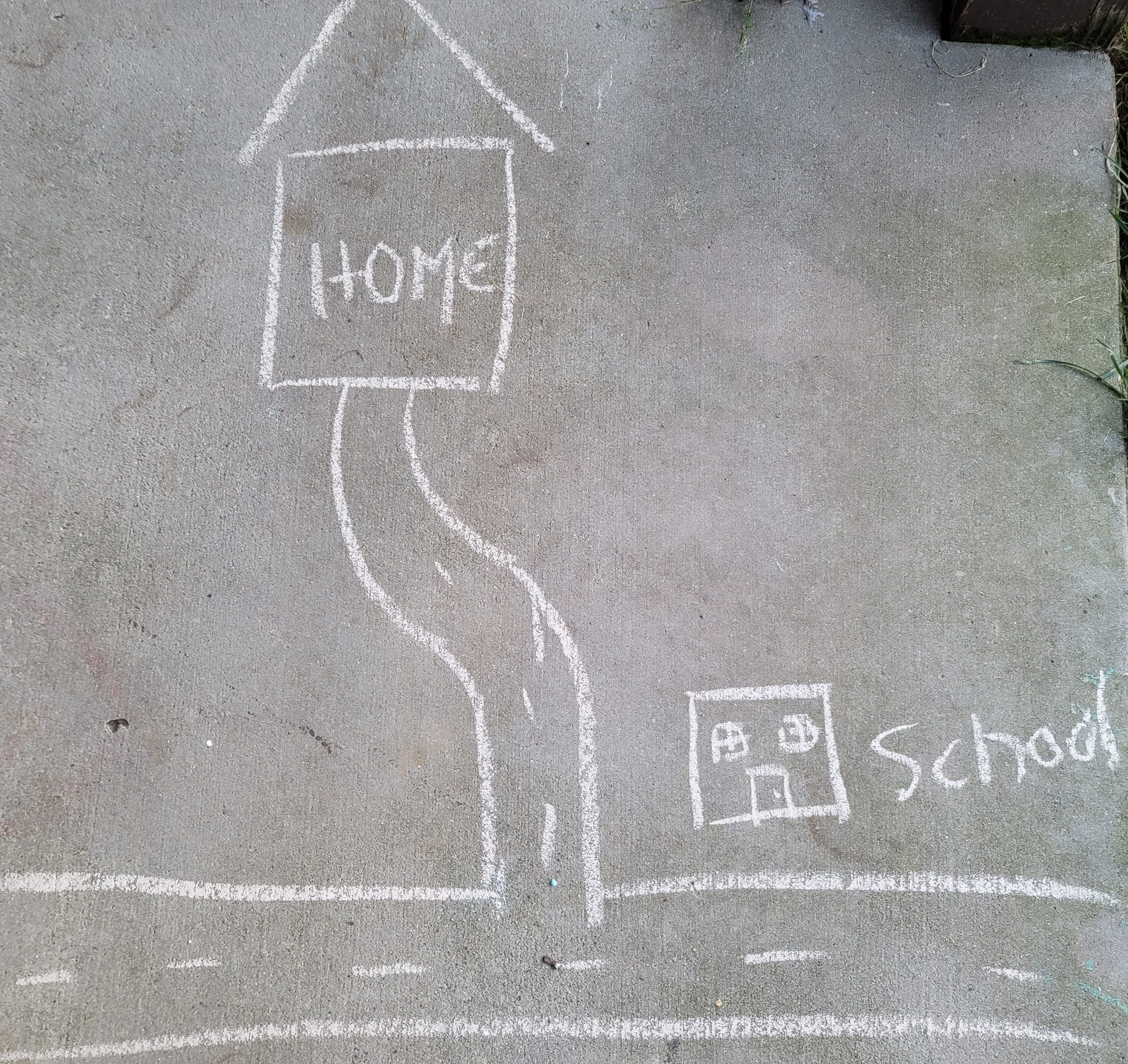 City map drawn in chalk