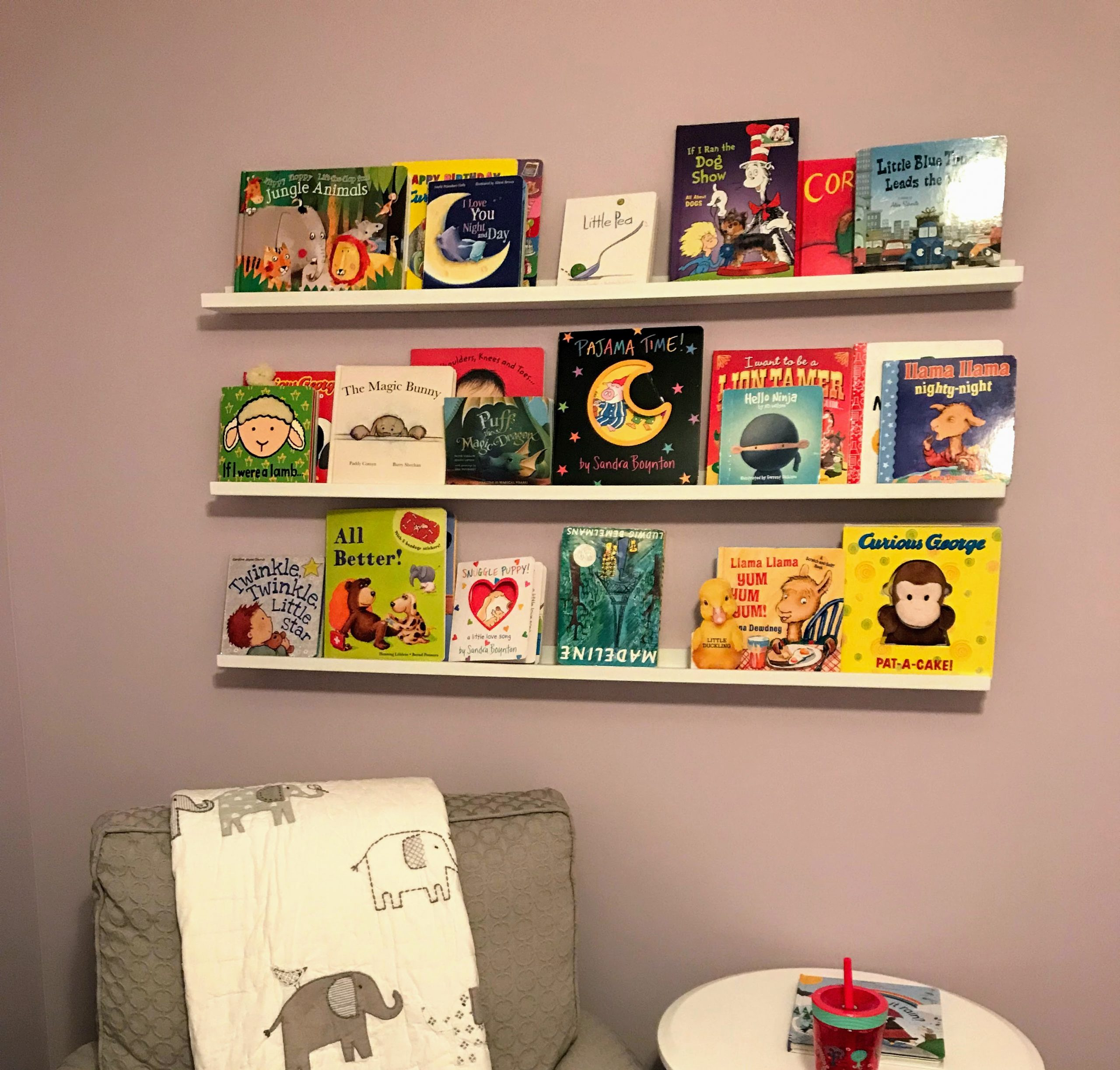 Nursery bookshelf organization